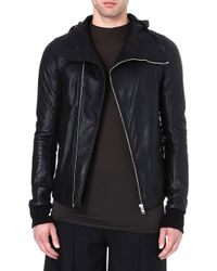 Rick Owens Hooded Leather Jacket Black - Lyst