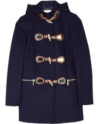 Michael by Michael Kors Navy Gold Toggle Duggle Coat - Lyst