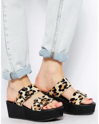 Asos Jak Leather Flatforms - Lyst