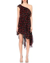 Saint Laurent Cherry-Print Ruffled Silk Dress - Lyst