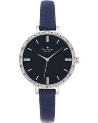 Kate Spade New York Womens Metro Skinny Navy Pebbled Leather Strap Watch 34mm - Lyst