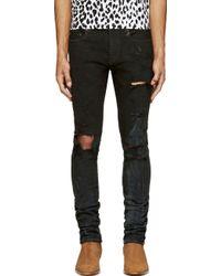 Saint Laurent Black Destroyed Denim Slim Fit Jeans - Lyst