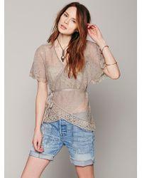 Free People Short Sleeve Wrap Sweater - Lyst
