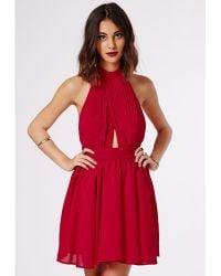 Missguided Cia Chiffon Keyhole Puff Ball Skater Dress Red - Lyst