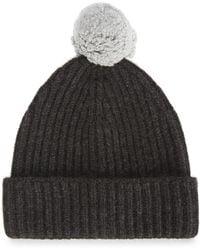 Johnstons - Lamora Charcoal Wool And Angora Blend Beanie - Lyst