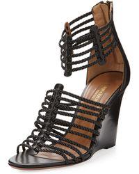 Aquazzura | Venus Woven Strappy Wedge Sandal Black | Lyst