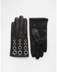 ASOS | Leather Gloves With Eyelet Detail And Touch Screen | Lyst