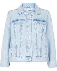 Topshop Moto Fitted Denim Jacket - Lyst