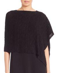 Eileen Fisher | Cropped Rib-knit Poncho | Lyst