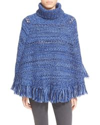 Kate Spade | Turtleneck Fringe Cape - Purple | Lyst