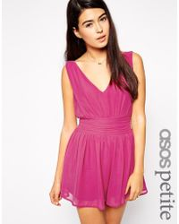 Asos Exclusive Romper with Gathered Plunge and Low Back - Lyst