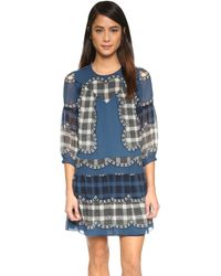 Anna Sui | Scalloped Scarf Print Dress - Marine Blue Multi | Lyst