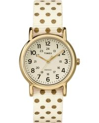 Timex® Ladies Weekender Gold-Tone And Fabric Strap Watch - Lyst