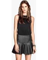 H&M Black Flounced Skirt - Lyst
