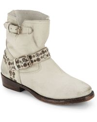 Ash Studded Leather Ankle Boots/Off White - Lyst