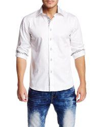 T.R. Premium - White Long Sleeve Roll Up Button Down Dress Shirt - Lyst