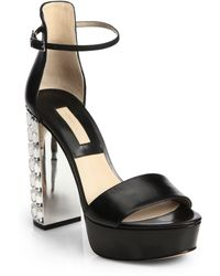 Michael Kors Nikki Jewel-Heel Leather Platform Sandals - Lyst