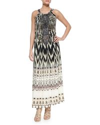 Camilla Printed Beaded Racerback Coverup Dress - Lyst