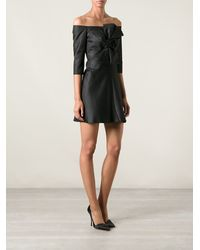 Carven Bow Detail Deep Boat Neck Flared Dress - Lyst