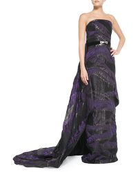Pamella Roland Strapless Belted Cascading-Train Gown - Lyst