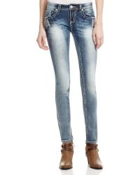 Grace In La - Feather Skinny Jeans In Medium Blue - Compare At $84 - Lyst
