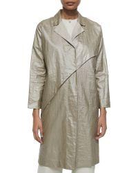 Shamask - Asymmetric Glazed-Linen Coat - Lyst