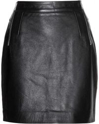 McQ by Alexander McQueen Black Leather Skirt - Lyst