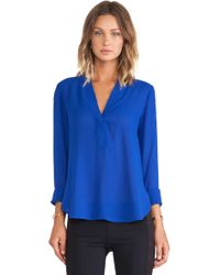 Vince Trapunto Long Sleeve Blouse - Lyst