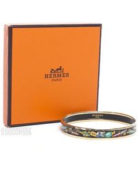 Hermès Pre-Owned Multicolor Perfume Bottle Enamel 70 Bangle Bracelet black - Lyst