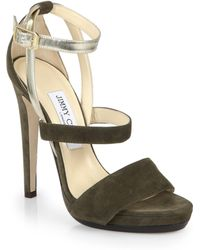 Jimmy Choo Discus Strappy Suede & Leather Platform Sandals - Lyst