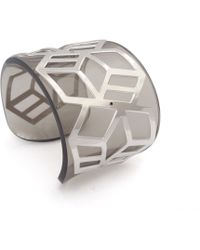 Anna Byers - Wide Perspex Cuff Tinted Grey & Silver - Lyst