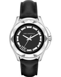Karl Lagerfeld Unisex Karl 7 Black Leather Strap Watch 44mm - Lyst