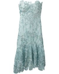 Notte by Marchesa Embroidered Strapless Dress blue - Lyst