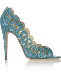 Brian Atwood Yana Chaintrimmed Stingrayeffect Leather Pumps - Lyst