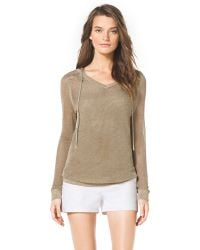 Michael Kors  Shimmery Hooded Sweater - Lyst