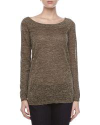 Halston Heritage Metallic Knit Vback Sweater - Lyst