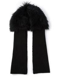 Yves Salomon Fur Detail Knit Scarf - Lyst