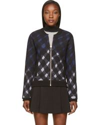 Kenzo Black Distorted Check Zip_up Cardigan - Lyst