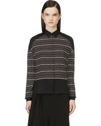 Costume National Black and White Silk Dotted Blouse - Lyst