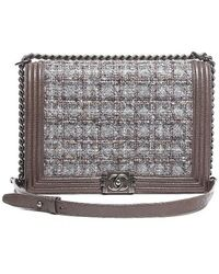 Chanel Pre-owned Caviar Tweed Large Le Boy Bag - Lyst