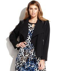 Calvin Klein Plus Size Faux-leather-trim Draped Jacket - Lyst