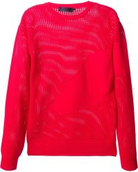 Alexander McQueen Red Perforated Sweater - Lyst