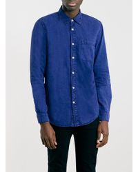 Topman Blue Acid Wash Long Sleeve Denim Shirt - Lyst