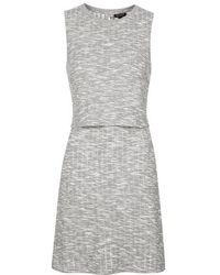 Topshop Sleeveless Textured Overlay Dress - Lyst