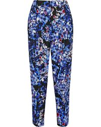 J.Crew Collection Inky Floral Floralprint Satintwill Tapered Pants - Lyst