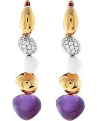 Roberto Coin - Ikebana 18k Rose Gold Amethyst & Diamond Earrings - Lyst