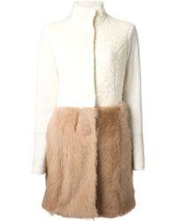 DROMe Colour Block Fur Coat - Lyst