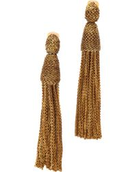 Oscar de la Renta Long Chain Tassel Clip On Earrings - Lyst