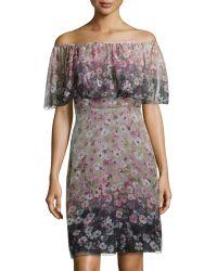 Valentino Floralprint Ruffledoverlay Chiffon Dress - Lyst