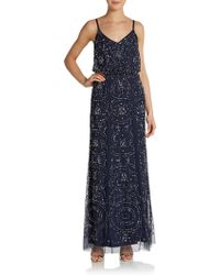 Adrianna Papell Embellished Sheer Gown - Lyst
